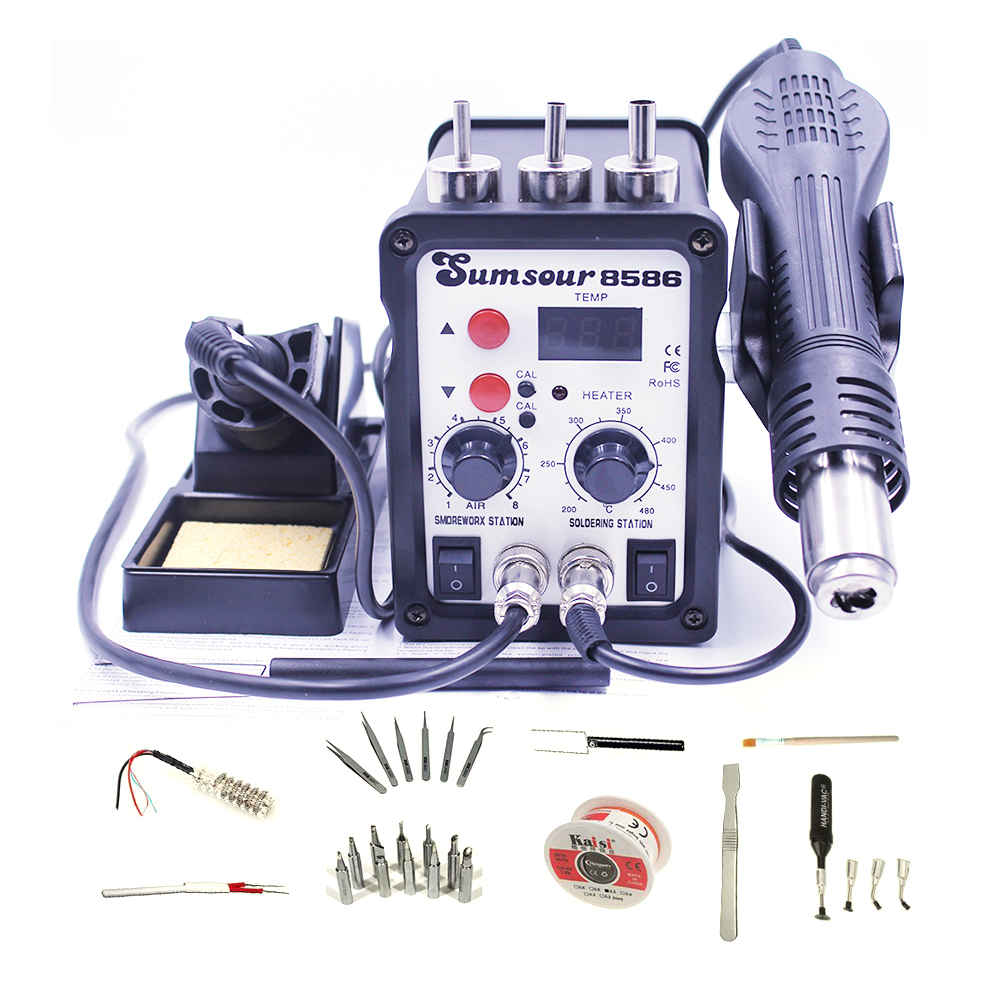Sumsour 8586 700W Hot Air Rework Solder Station BGA De-Soldering 2 In 1 With Supply Heat Air Gun Soldering Iron With Free Gifts