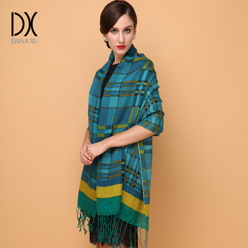 Winter Cashmere Luxury Brand Scarf Women Wool Bandana Plaid Scarf Cape Poncho Face Shield Wrap New Fashion Scarves and Shawls