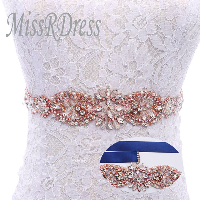 MissRDress Handmade Wedding Dress Belt Crystal Beads Wedding Belt ...