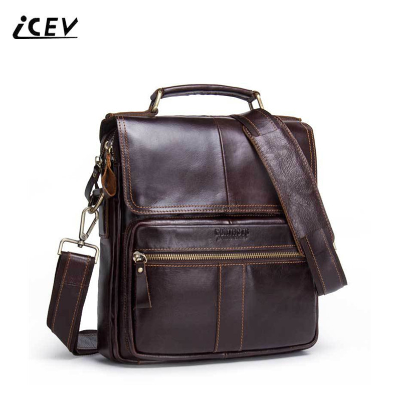 ICEV New Fashion Simple Crossbody Bags for Men Messenger Bags Handbags Famous Brands Organizer Genuine Leather Bags Bolsos Mujer icev new korean fashion high quality simple genuine leather saddle crossbody bags for women messenger bags cow leather handbags