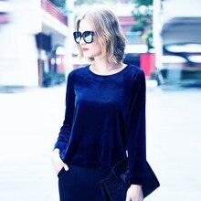0284997f2 زائد الحجم m-5xl 6xl 7xl أزياء النساء المخملية قميص ، جديد ربيع الخريف يا  الرقبة طويلة الأكمام المخملية بلوزة ، أسود أزرق القطيف.