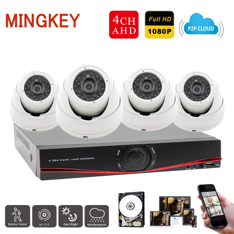 Full HD 1080P 4 Channel Home Surveillance System 1920*1080P 4CH AHD DVR Kit 2.0MP Dome CCTV Security Camera System with HDD cctv 4ch 1080p ahd recording kit with hd 2mp dome ir day night 4 channel ahd camera kit video surveillance home security system