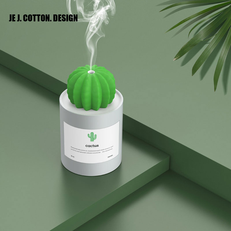 280ML Cactus Ultrasonic Air Humidifier Aromatherapy Mist Maker For Home Appliances USB Diffuser Aroma Air Freshener