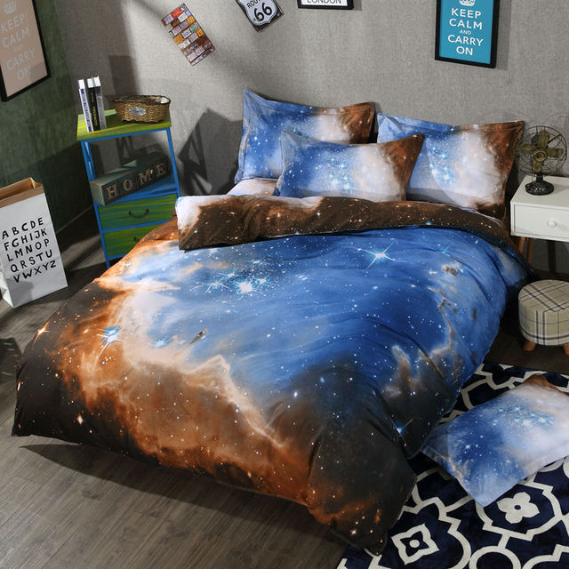 galaxy bedding 3d space bedding set quality duvet cover galaxy bed set beddings single full queen - Galaxy Bedding Set