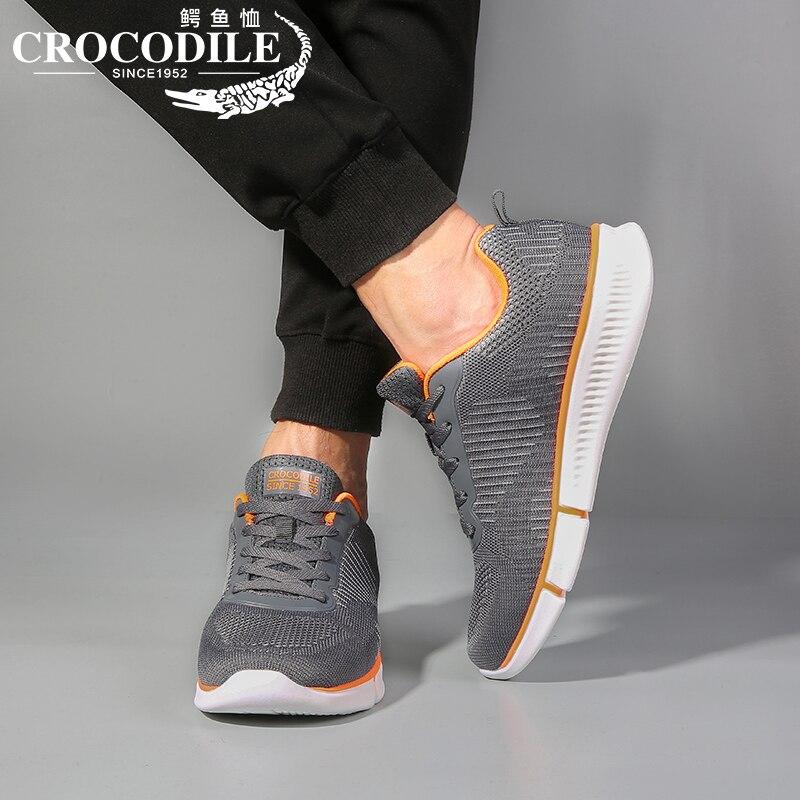 Купить с кэшбэком Crocodile Air Mesh Men Running Sneaker Shoes Male Training Sport Shoes for Men Athletic Jogging Trainer Fabric Weaving Light Sho