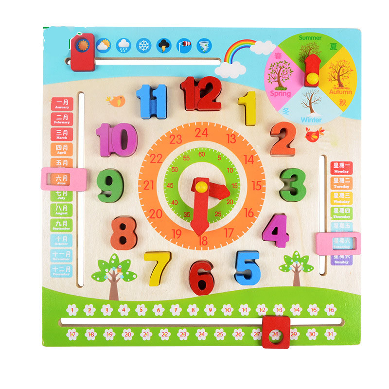Shop For Cheap Wooden Montessori Toys Baby Multi Function Calendar Clock Preschool Educational Learning Toys For Kids Juguetes Brinquedos E2884 Home