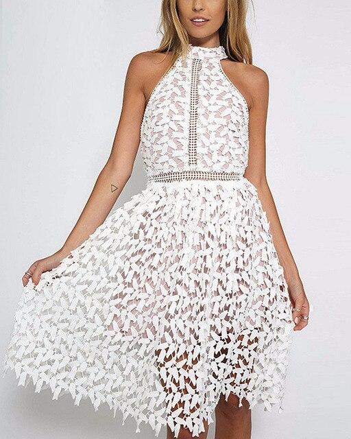 XiM & M @ ch Elegante Süße Spitze Kleid Sleeveless halter ansatz ...