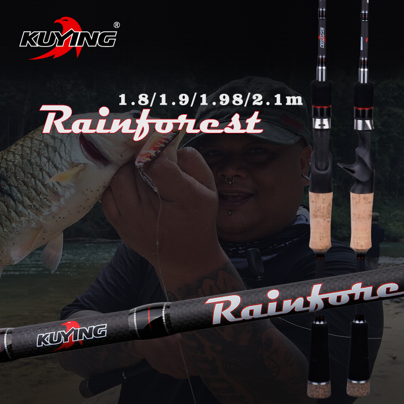 KUYING Rainforest 1.8 1.9 1.98 2.1m Casting Spinning Lure Fishing Rod Pole Cane Soft Medium Fast Carbon Fiber Action 2 Parts
