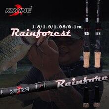 Kuying vara de pesca reforçada, 1.8m, 1.9m, 1.98m, 2.1m, para molinete, isca giratória, macia, de carbono ação rápida 2 seções