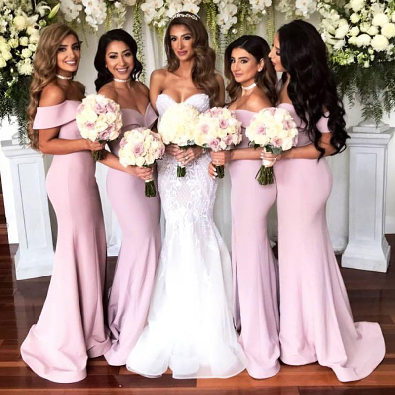 2018 Sexy Sweetheart Mermaid   Bridesmaid     Dresses   Glamorous Pink Long African Bridal Prom   Dress   Plus Size Party Gowns Custom Made