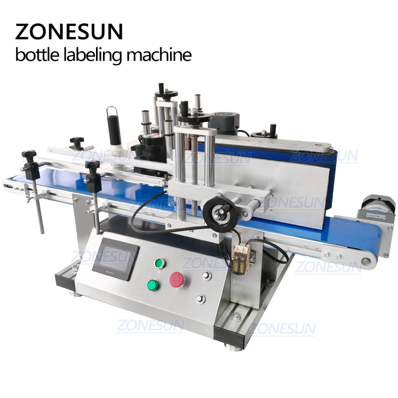ZONESUN Industry Desktop Automatic Label Applicator Labeling Machine For Round Plastic Wine Glass Bottle, PET , PP Bottle applicatori di etichette manuali