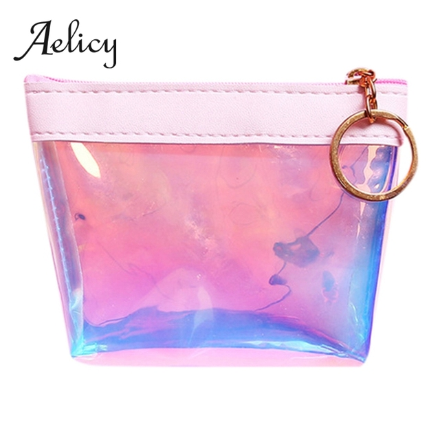 Aelicy Women's Girls Cute Jelly Transparent Coin Purse Plastic Mini Zipper Change Clutch Bag Wallet Key Storage Bag with Keyring