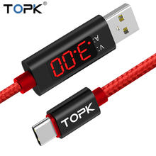 TOPK D-Line1 3A(Max) Voltage and Current Display USB Type C Cable Nylon Braided QC 3.0 Fast Sync Data Cable USB C Type-C Cable