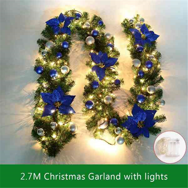 2.7M Decorated Garland Illuminated With Lights Christmas Decoration Xmas Garland For Fireplace Stairs Baubles Flowers Xmas Decor