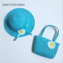 Fashion Girls Kids Flower Straw Sun Hat Bag Suit Children Lovely Casual Summer Beach Beautiful Visors Cap Tote Handbag