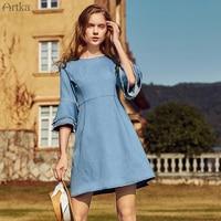 Artka Summer 2018 New Female Vintage O Neck Half Flare Sleeve Slim High Waist Denim A