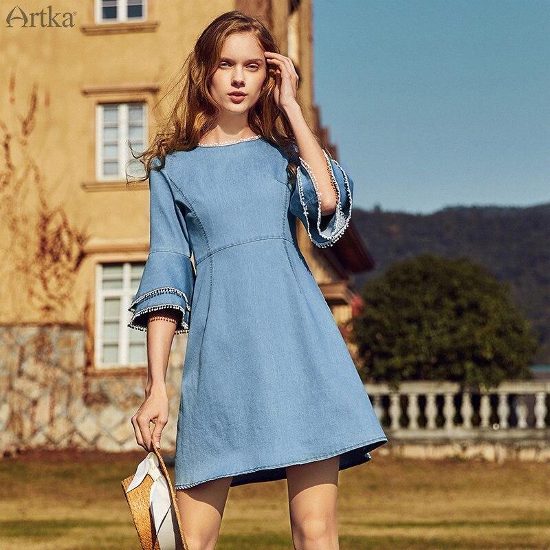 Artka Summer 2018 New Female Vintage O-Neck Half Flare Sleeve Slim High Waist Denim A-line Mini Dress LN10084C vintage mini flare dress