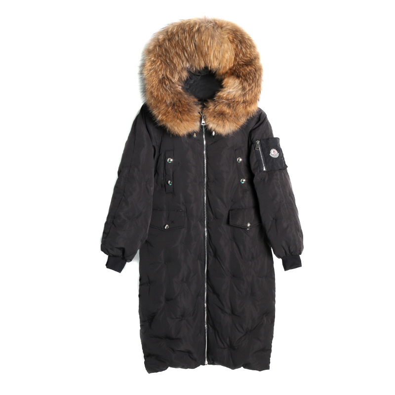 2017 Big Real Fur Winter Jacket Women Coat Warm Slim Thick Long Parkas Raccoon Fur Collar Hooded For Women Coats Female Jackets 2017 women jackets and coats solid slim large fur collar hooded short parkas thick jacket winter women warm coat overcoat sy003