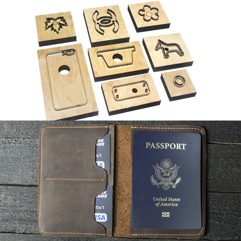 Japan Steel Blade Die Cutter Leather Template Passport Wallet Gift for man Passport Holder Punch Hand