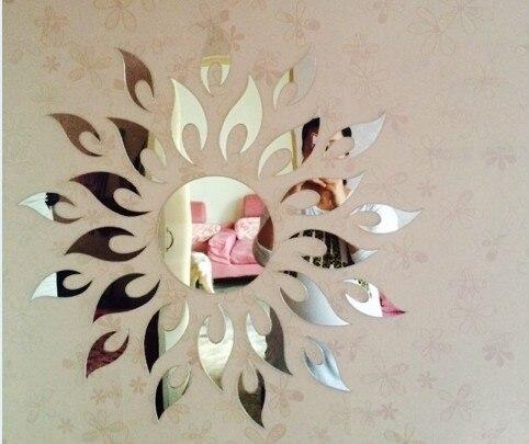 New acrylic wall stickers mirrored three dimensional sun shaped wall stickers entranceway sofa wall decoration