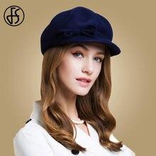 FS Mulheres 100% Chapéu Boina de Lã Azul Marinho Sólido Bowknot Baret 2018  Inverno Elegante. 2 Cores Disponíveis b20309a7d13