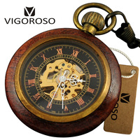 Luxury Antique Wooded Copper Case Skeleton Hand Winding Mechanical Pocket Watch FOB Chain Pendant Men Women