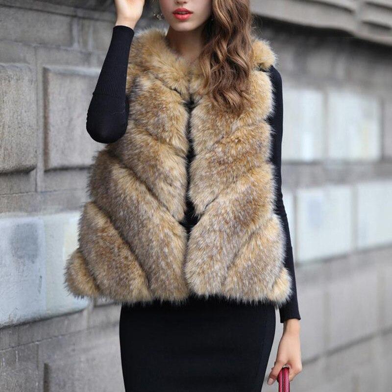 2017 Iarnă Noua Vestă de blană artificială de înaltă calitate, - Îmbrăcăminte femei