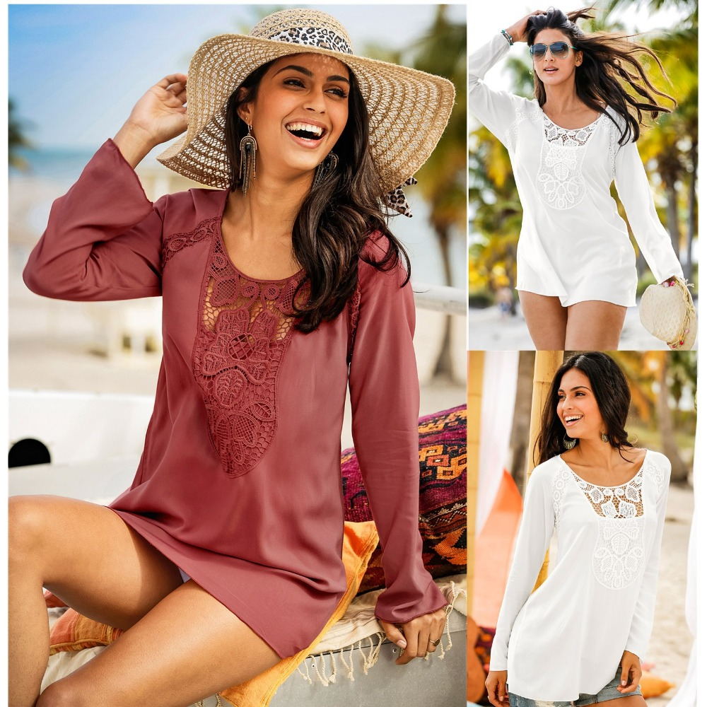 Fashion 2018 Plus Size tee shirt femme Casual Hollow Out Patchwork Lace T Shirt Women Long Sleeve White Sexy Solid O-Neck tops