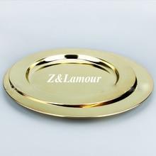 100 шт./лот, Европейский диск из нержавеющей стали, золотой пудинг, плоский диск, тарелка для торта, принадлежности для отелей