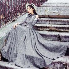Autumn Winter Maxi Vintage Plaid Long Women Dress Woolen Gray Shirt Dresses Female Evening Party Costumes