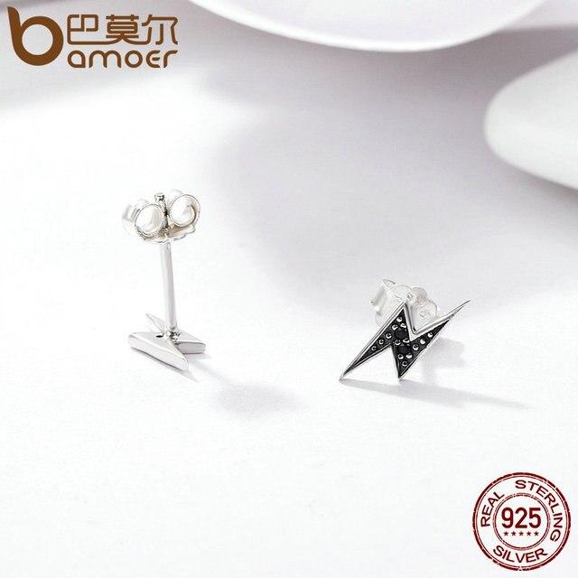 925 Sterling Silver Exquisite Lightning & Black Stud Earrings for Women 4