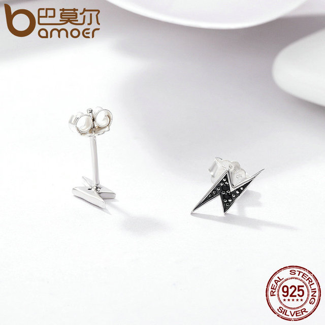 BAMOER 925 Sterling Silver Exquisite Lightning & Black CZ Stud Earrings  4