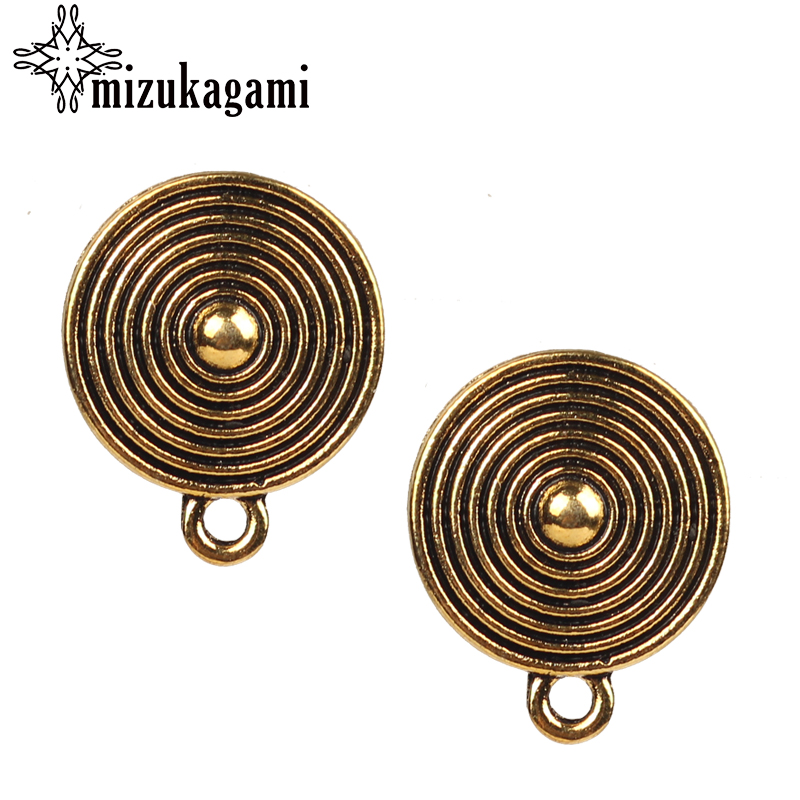 2017 New 10pcs/lot Zinc Alloy Retro Gold Concentric Circles Earring Base Earring Connector For DIY Earrings Accessories