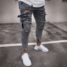 2019 Modish Jeans Homme Pockets Slim Pencil Jean Pants Hiphop Ripped Men Jeans Casual Skinny Denim Streetwear Distressed Jeans 2016 new arrived men s biker jeans bule casual slim distressed denim hiphop pant for male hots jean designer skinny trousers