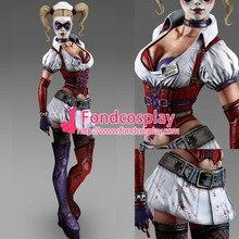 Envío libre de halloween batman arkham asylum jacket dress mujeres juego payaso harley quinn traje cosplay por encargo