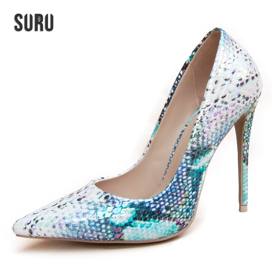 SURU Sprintyed Snake Scales Gradient Pumps Women Shoes with 4.75 Inches Thin Heeled Wedding High Heels Fashion Pointed Toe Pumps
