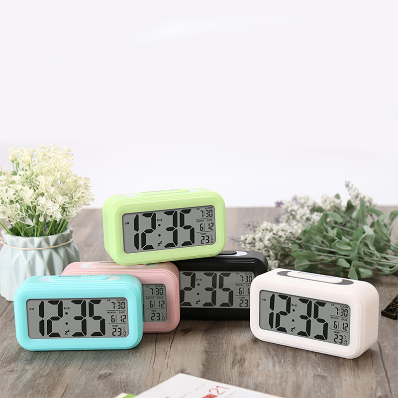 M.Sparkling candy color digital alarm clock thermometer LED clock snooze function desktop clock with night light calendar clock