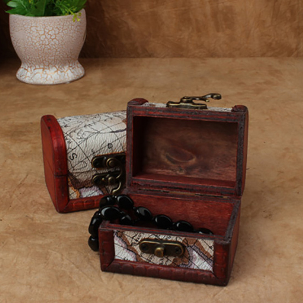 Mini Vintage Wooden Box Classic Retro Antique Storage Case Small Metal Lock Jewelry Treasure Chest Case Manual Wood Box wood