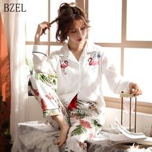 BZEL 여성 잠옷 세트 코튼 긴 소매 피자 마 Mujer 플라밍고 인쇄 Loungewear 도매 캐주얼 잠옷 Femme 빅 사이즈 M 3XL