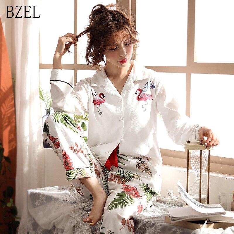 BZEL Women's   Pajamas     Set   Cotton Long Sleeve Pijama Mujer Flamingo Print Loungewear Wholesale Casual Pyjama Femme Big Size M-3XL