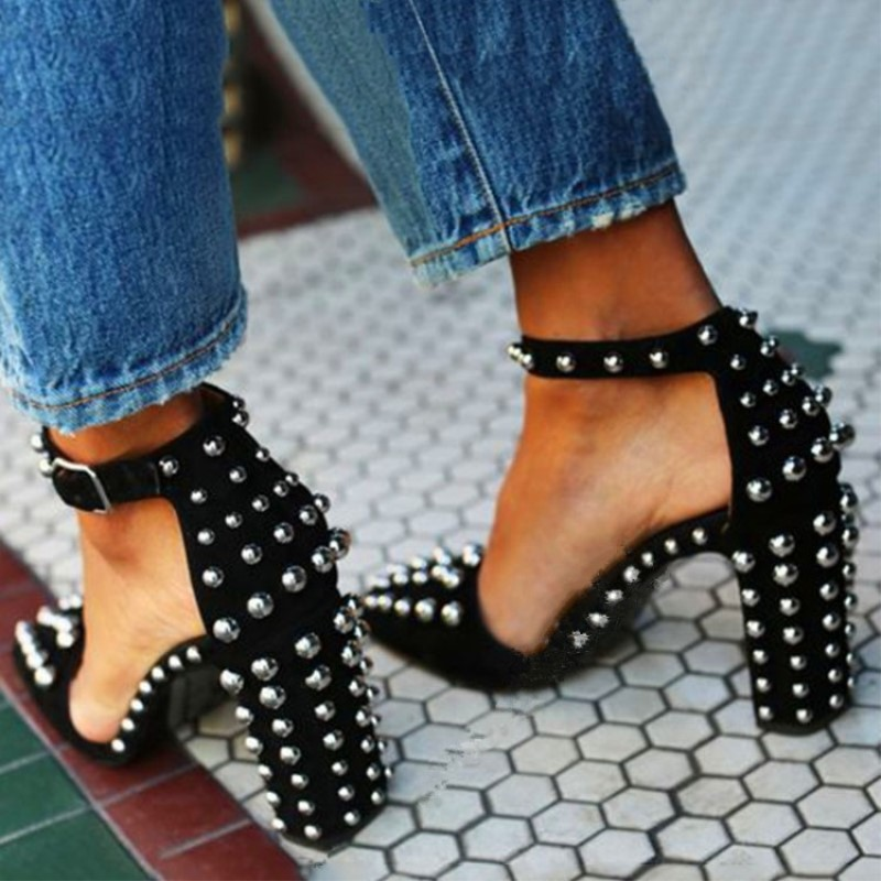 SHOFOO shoes,Beautiful fashion, free ship, suede, rivet decorating, 11 centimeter high heel sandals, women's sandals. SIZE:34-45 shofoo shoes 2017 new free shipping white spots and black cloth 13 5 cm wedge sandals women s sandals size 34 45
