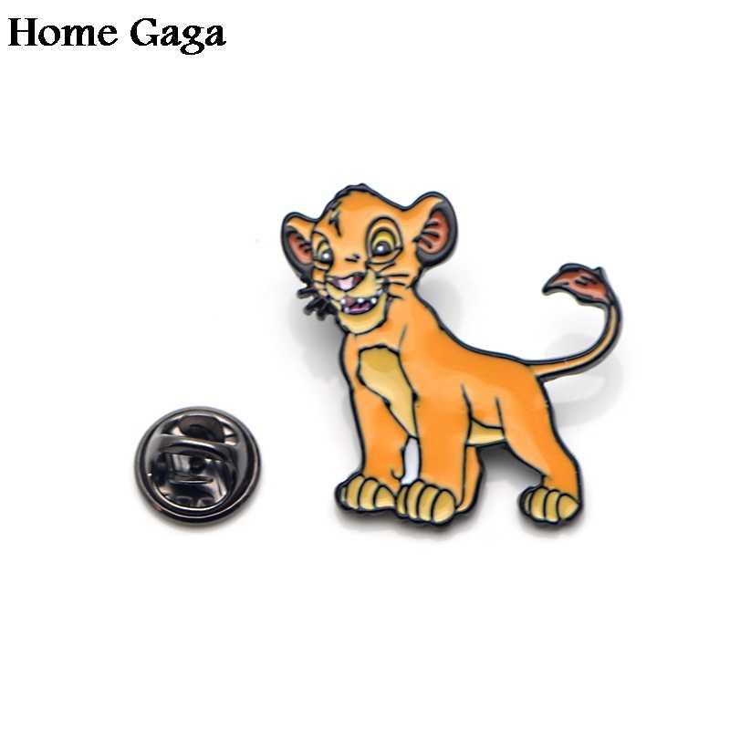 Homegaga karikatür aslan çinko alaşımı kravat pimleri rozetleri para tişört çanta kapağı sırt çantası ayakkabı broş rozetleri madalya süslemeleri D1597