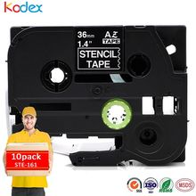 Kodex 10 pieces compatible Brother STE161 non-Adhesive Stencil Tape 36mm black on clear laminated label tape ste-161