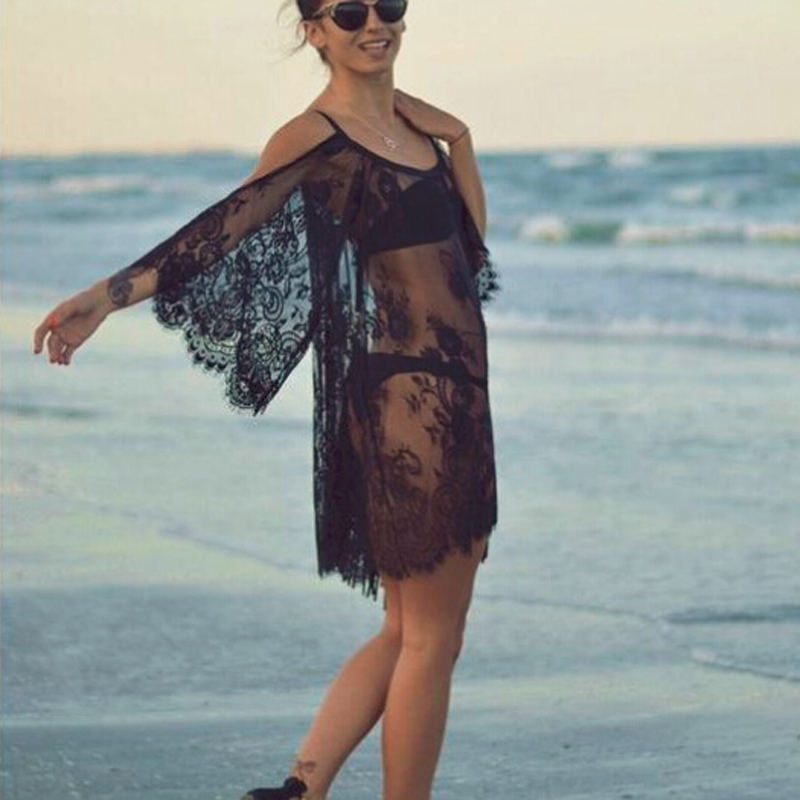S-XXLSexy Women's Lace Dress Women Sexy See Through Swimwear Cover Up Party Club Summer Bodycon Beach Lace Dress