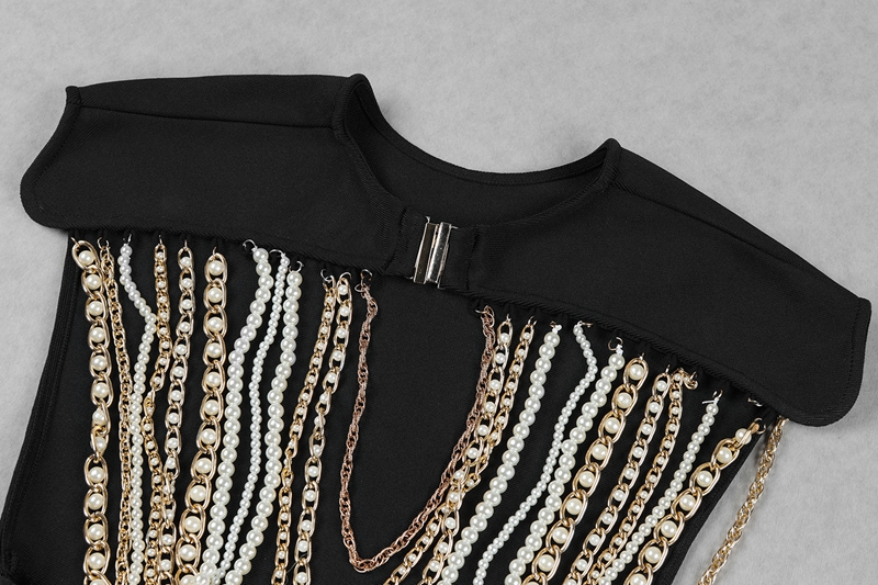 Salen Sexy O Neck Backless Beading Women Bandage Jumpsuits Solid Black Bodycon Women Bodysuits Fashion Full Length Romper 2018