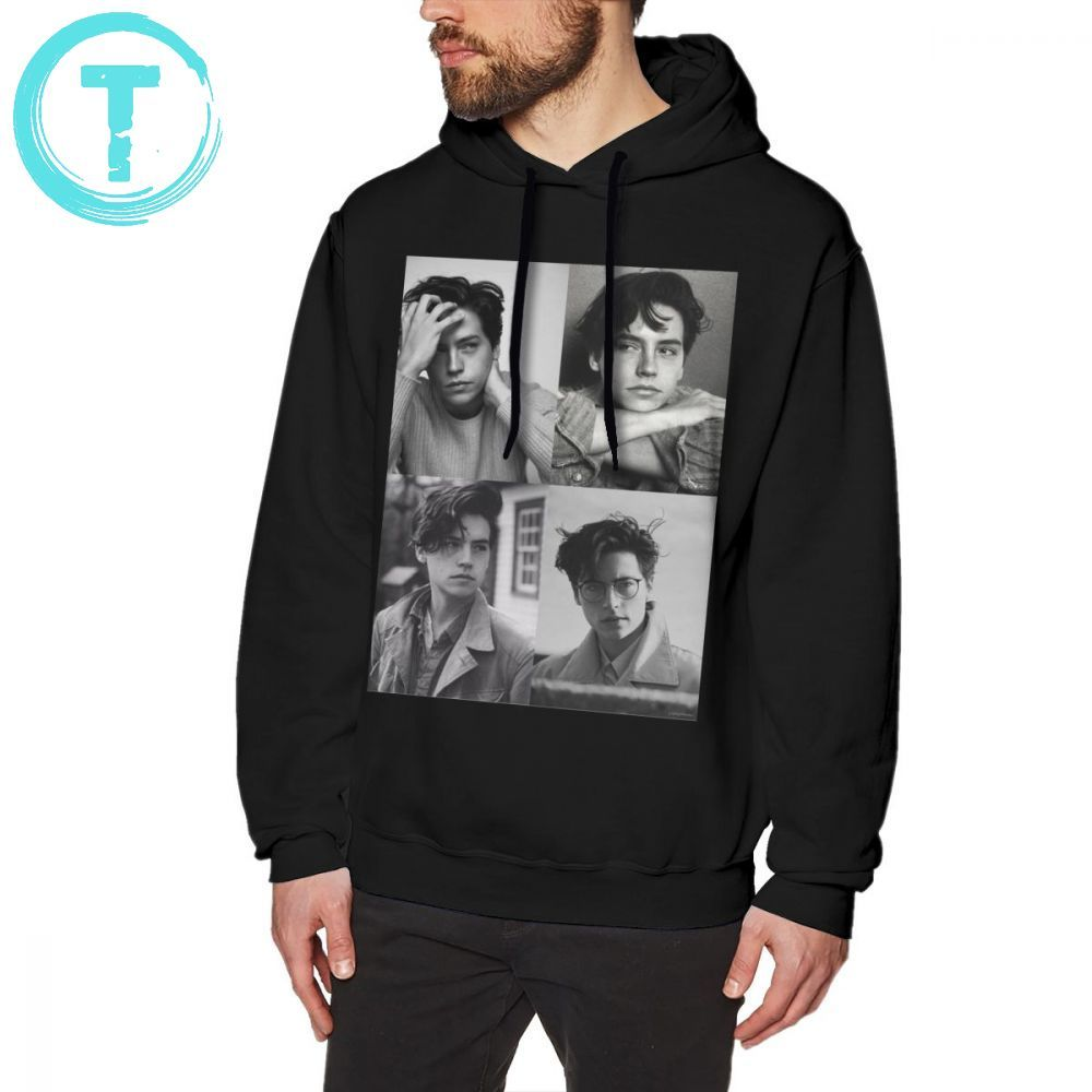 Cole Sprouse Hoodie Cole Sprouse Collage B W Hoodies Blue Fashion Pullover Hoodie Mens Winter Cotton Long Loose Big Hoodies