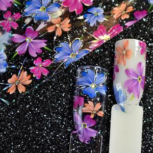 Image 5 - Nail Art Flower Decal Foil Image Transfer Spirit Wild flower Sticker Foil Easy DIY Manicure Decoration Roll in clear jar 1m