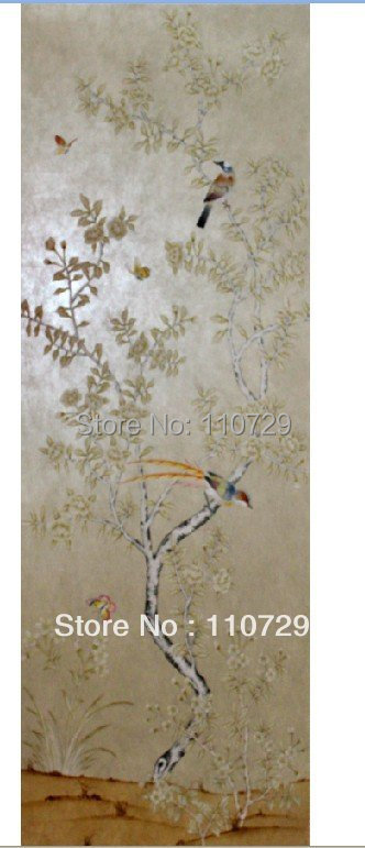 Hand-painted Non-Woven silk wallpaper painting Cherry flowers birds many pictures optional iarts aha072962 hand painted thick texture of knife painting trees oil painting red 60 x 40cm