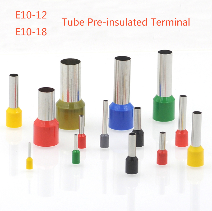 100pcs/lot E10-12 E10-18 tube pre-insutated cord end terminals cable crimps wire ferrules For 8AWG 10mm2 500pcs e16 12 tubular wire cold pressure connector electrical terminals cable crimps wire ferrules for 16 0mm2 5 awg pin end