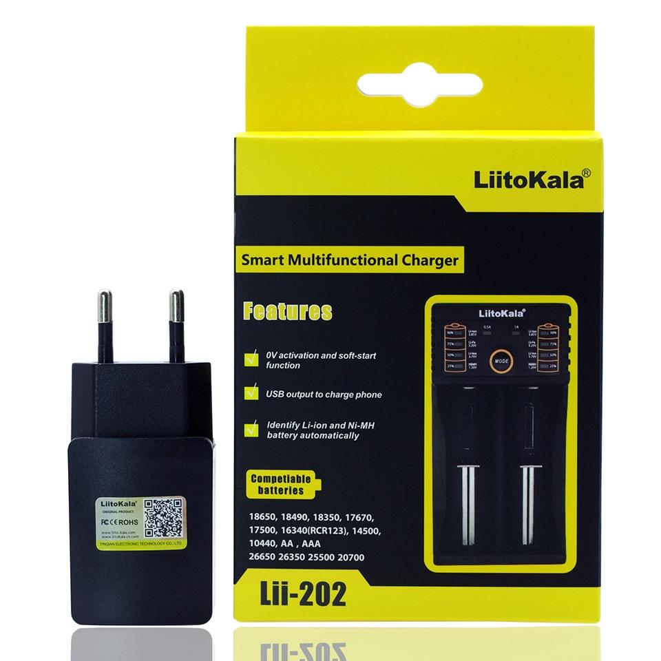 Liitokala Lii-402 Lii-202 100 18650 cargador 1,2 V 3,7 V 3,2 V 3,85 V AA/AAA 26650 16340 NiMH cargador de batería de litio + 5 V 2A cargador